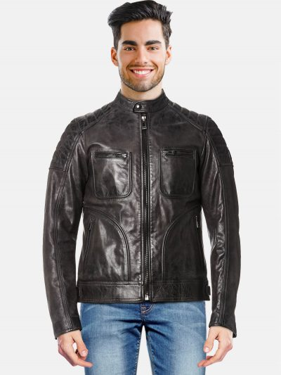 Quilted Oil Black Leather Jacket For Men