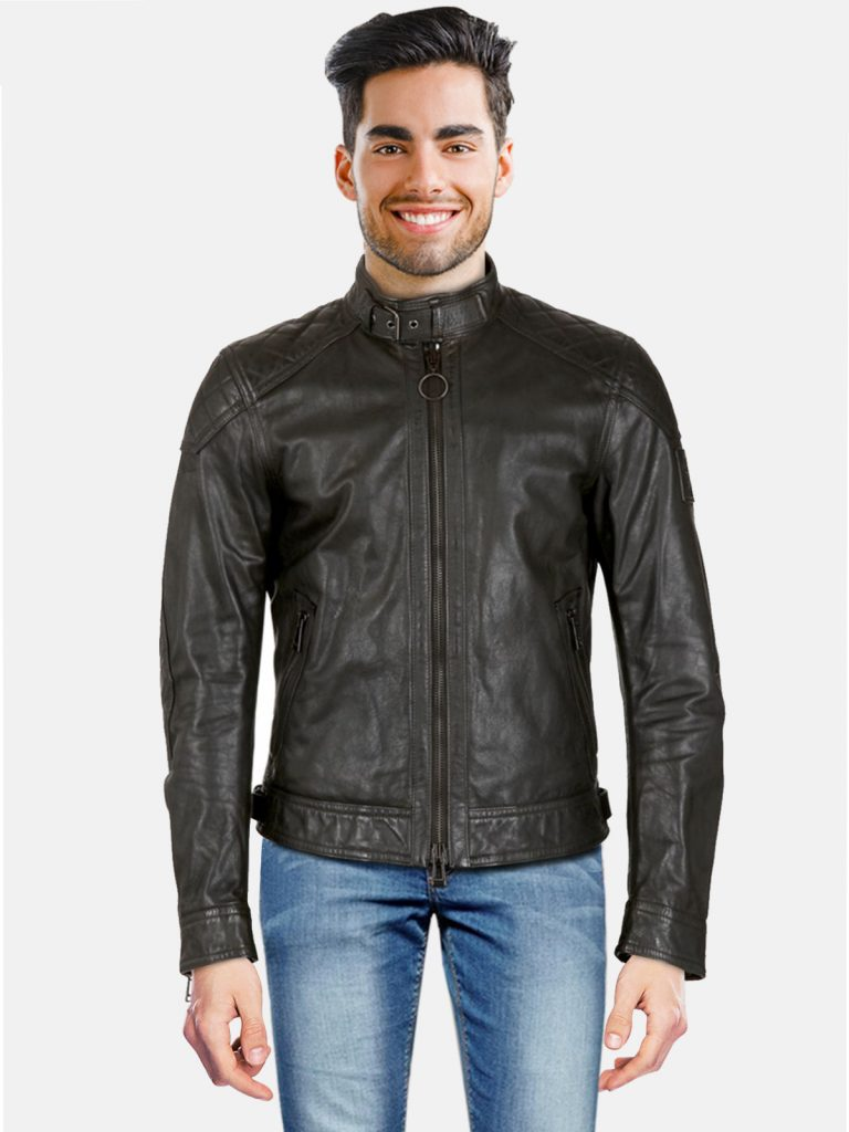 Quilted Jet Black Leather Jacket For Men