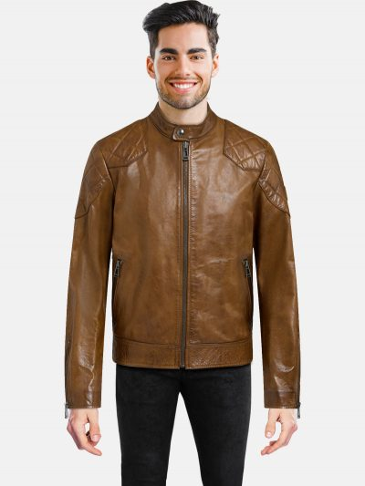 Cognac Leather Jacket For Men