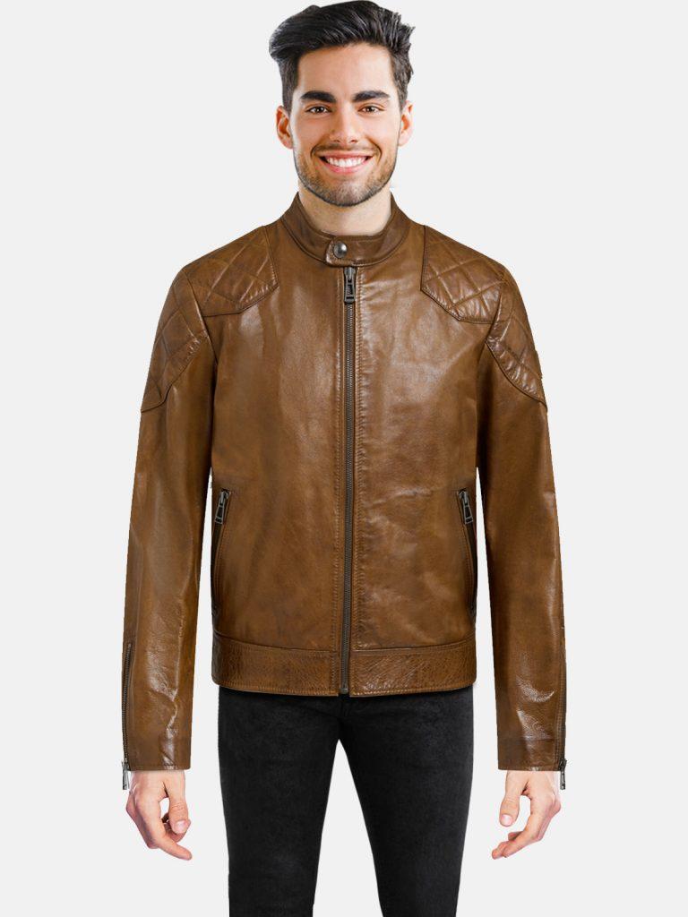 Cognac Leather Jacket For Men