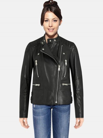 Classic women Black Leather Jacket
