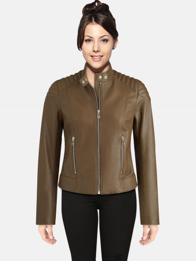 Trendy Light Brown women Leather Jacket