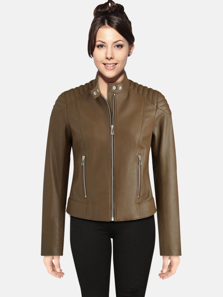 Trendy Light Brown women Leather Jacket