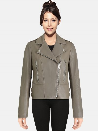 Women Taupe Color Leather Jacekt