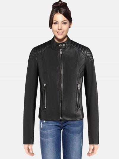 wome blac kbiker jacket