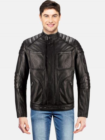 Heavy motorcycling Black Leather Jacket