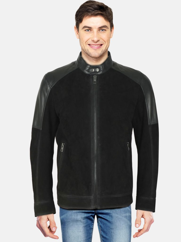 Mens Black Casual Leather Jacket