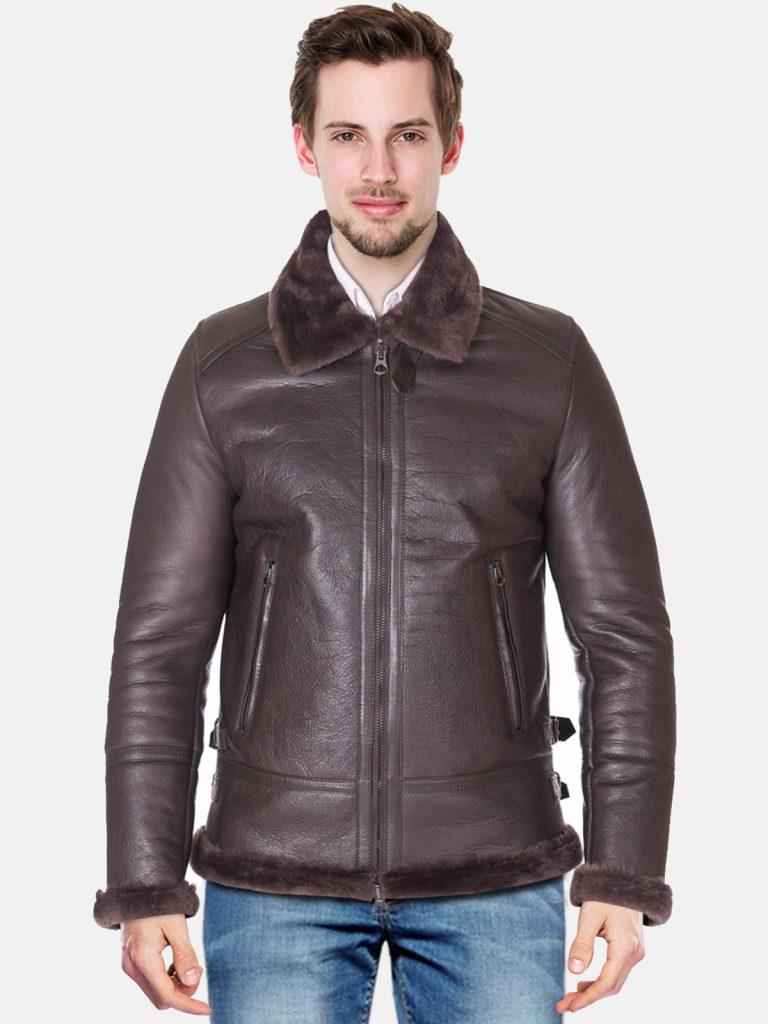 Dark brown shearling lamb biker
