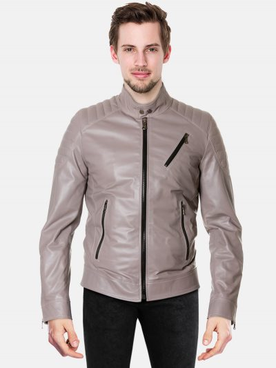 Grey quilted nappa lamb leather biker jacket three zipper pockets