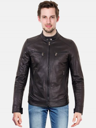 Black nappa lamb leather biker jacket