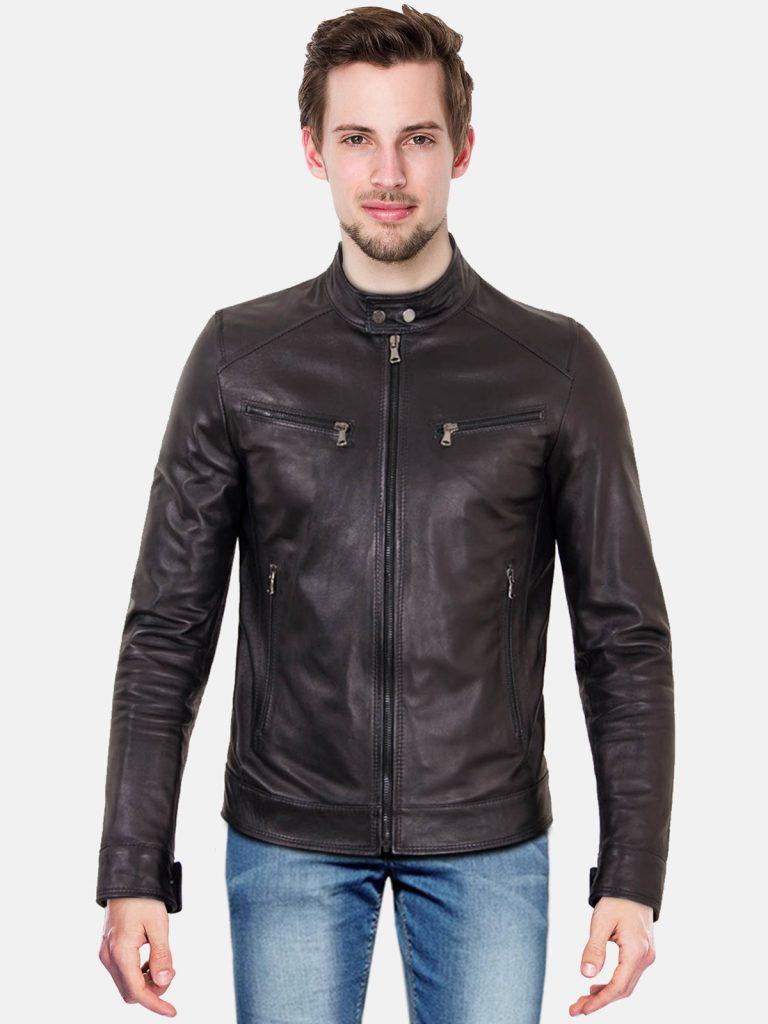 Black nappa lamb leather biker jacket