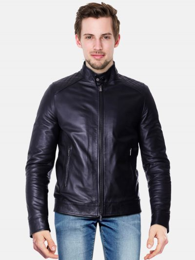 Black quilted lamb leather biker jacket front.