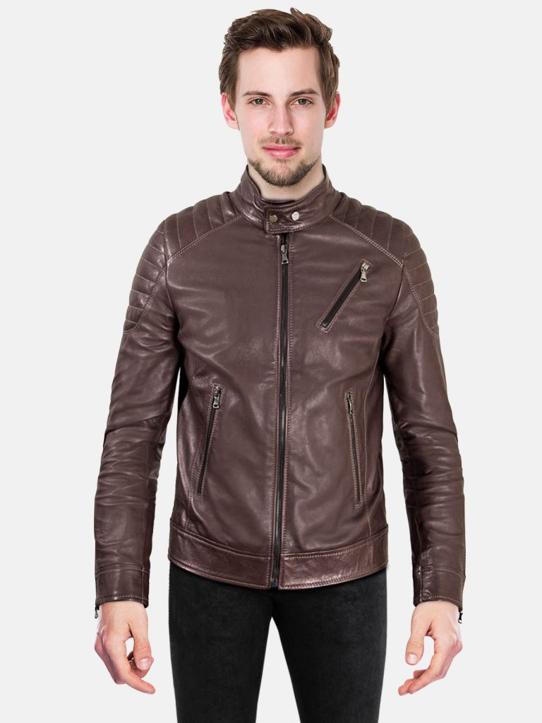 Dark brown quilted lamb leather bike