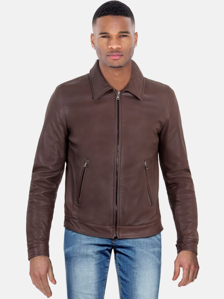 Dark Brown Classic Leather Jacket For Men