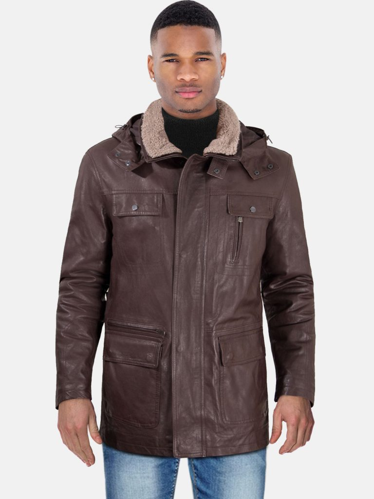 Brown hooded lamb leather coat