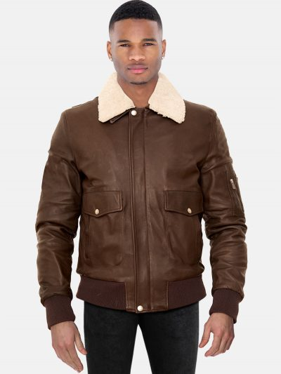 Dark brown lamb leather bomber jacket