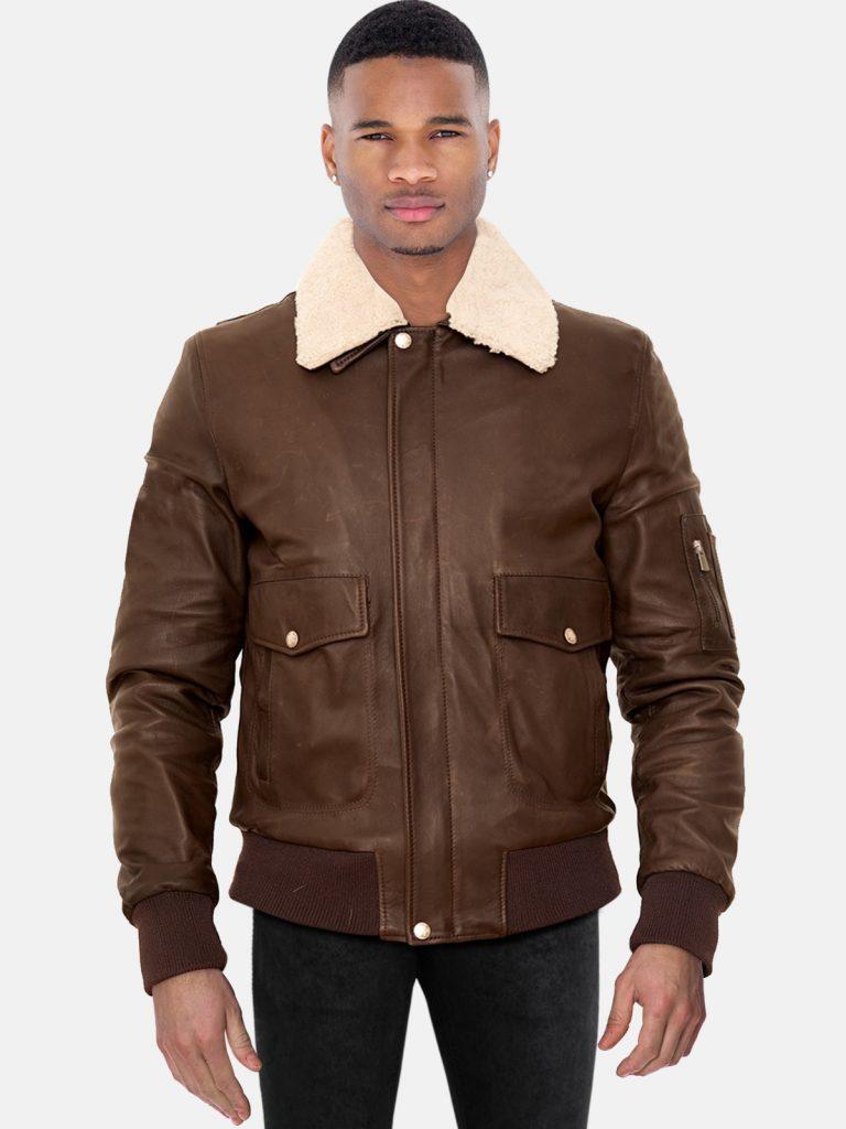 Dark brown lamb leather bomber jacket