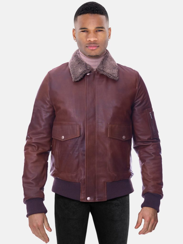 Brown lamb leather bomber jacket shearling collar