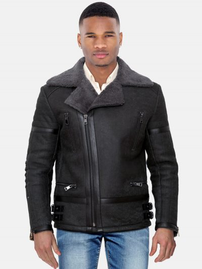Dark grey shearling biker jacket cross zipper