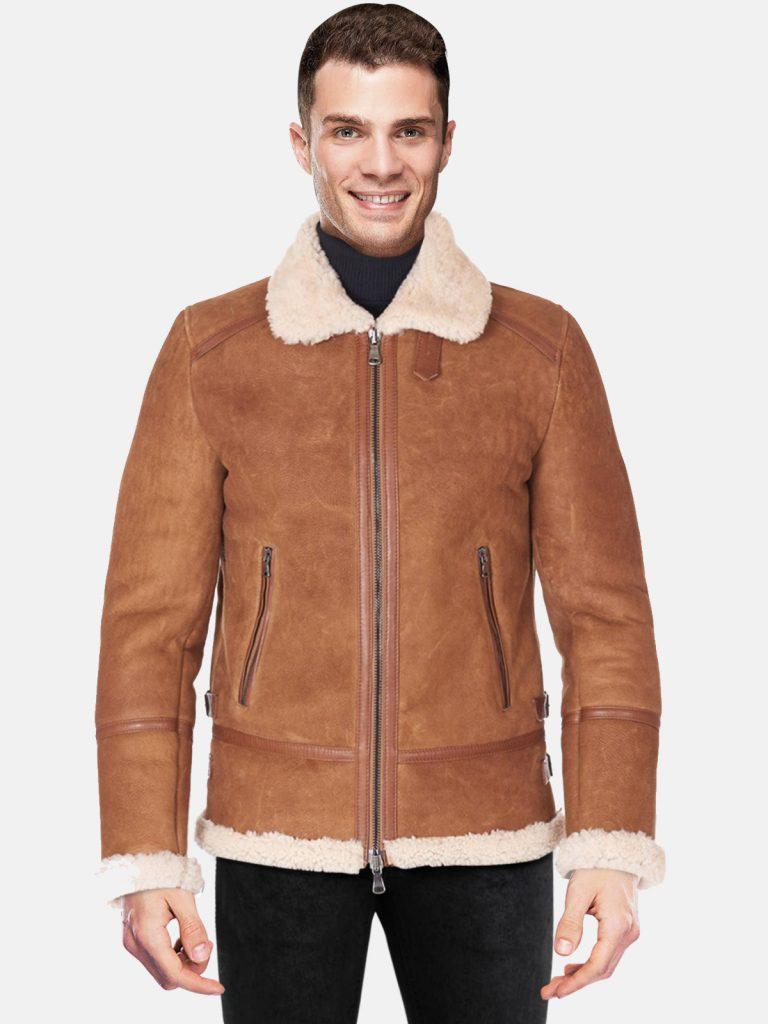 Tan shearling lamb biker jacket shirt and buckle collar back