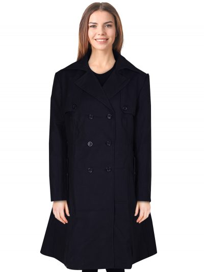 Long Black Cotton Trench Coat
