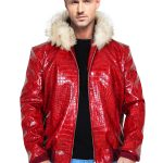 Red Crocodile Leather Jacket