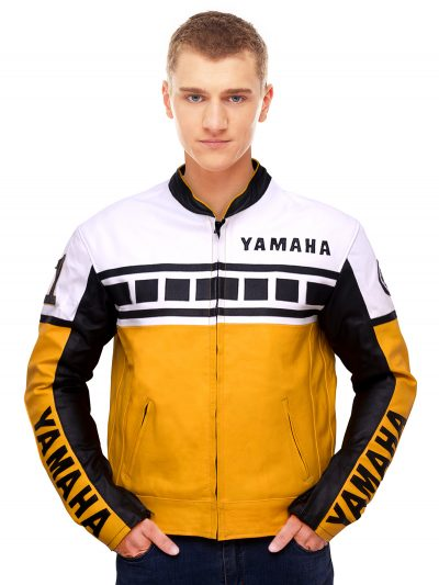 Yellow Vintage Biker Leather Jacket