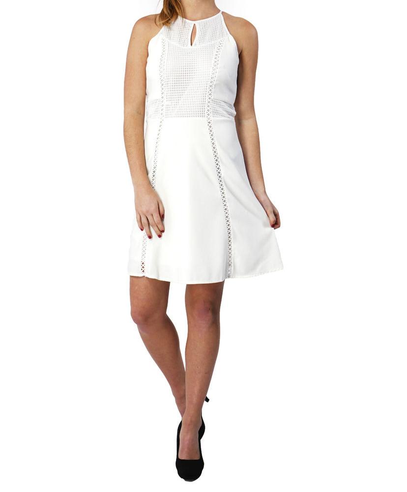 Vestido con Vivos de Encaje Blanco 609 bffc93dde27e