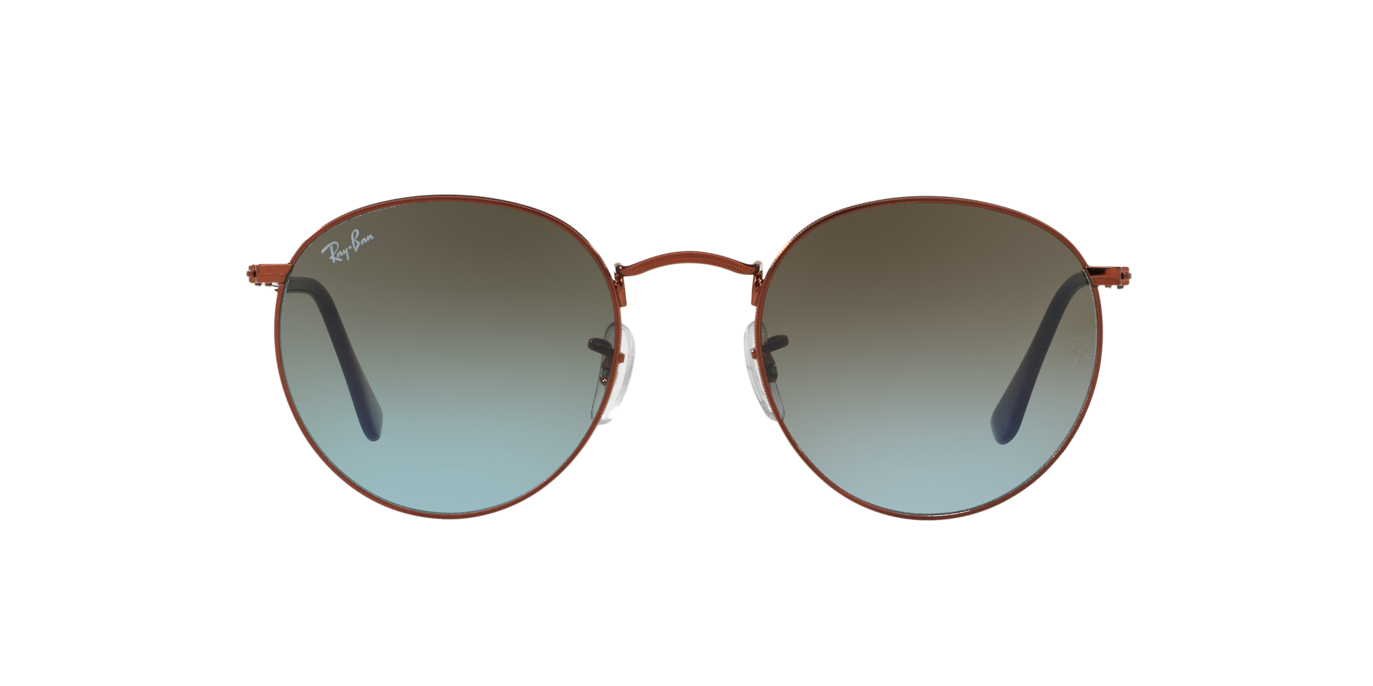 635cd66f8542c Ripley - Ray Ban Round Metal Shiny Dark Bronze lente Brown Blue Gradient