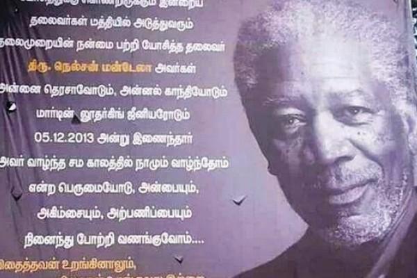 India: confunden a Morgan Freeman con Nelson Mandela en un homenaje