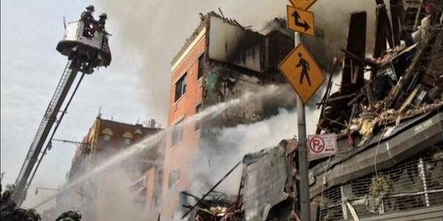 Edificio de Nueva York se derrumba tras explosión y deja personas atrapadas