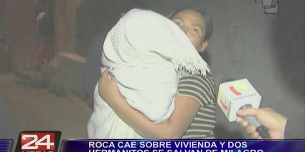 Tres niños resultaron heridos tras caer pesada roca sobre su vivienda en Huaycán
