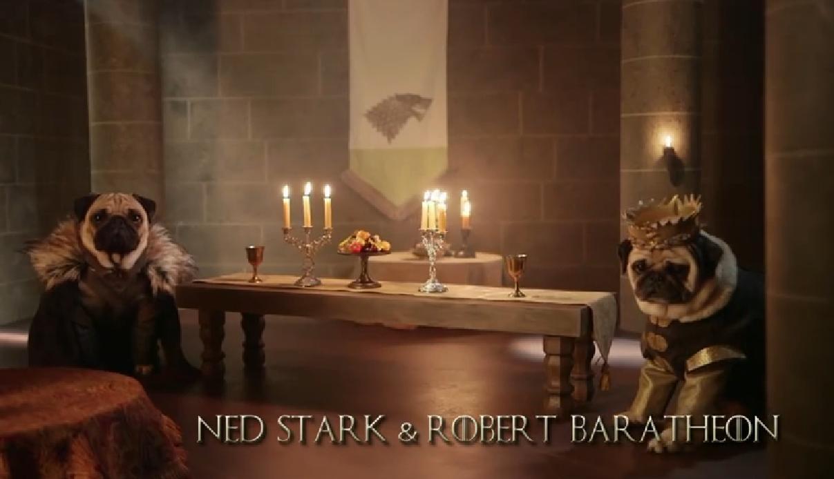 Al estilo de la serie Game of Thrones lanzan una encantadora parodia canina