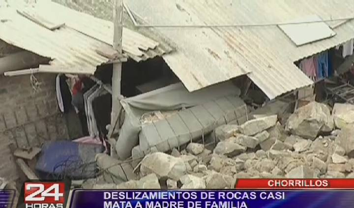 Chorrillos: mujer se salvó de morir aplastada por rocas que cayeron sobre su casa