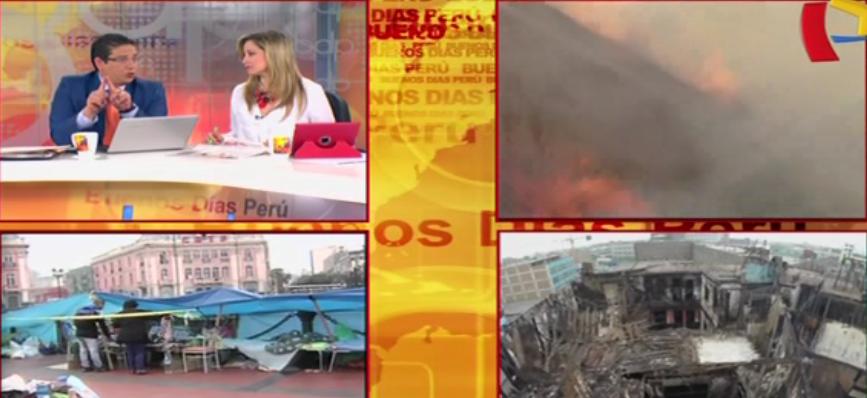 Damnificados por incendio en plaza Dos de Mayo se quejan por falta de agua