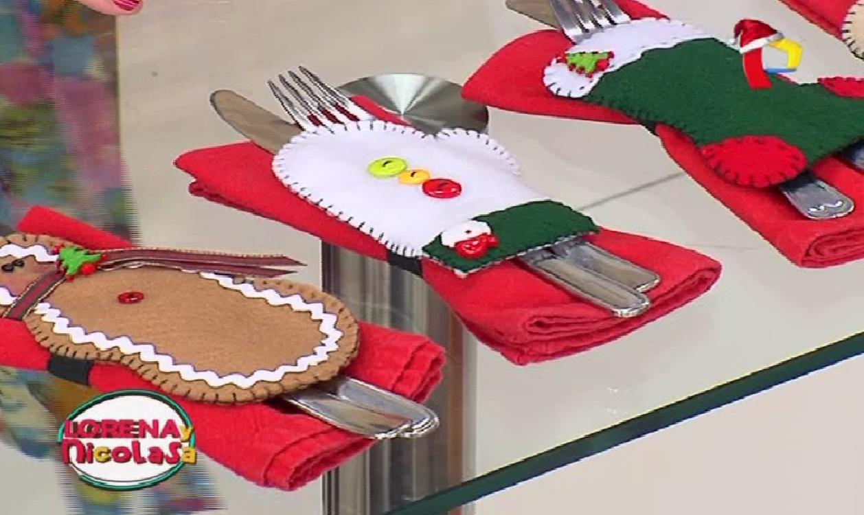 Sepa cómo hacer portacubiertos y servilleteros con motivos navideños