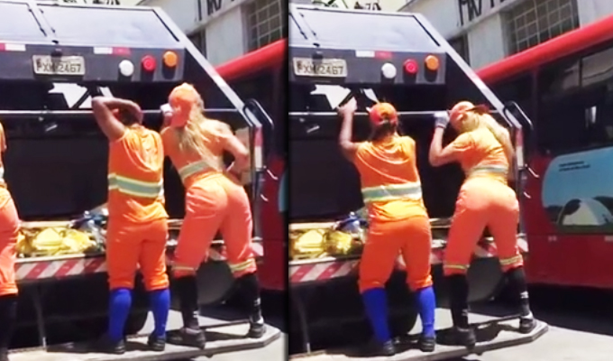 Brasileñas recogen la basura a ritmo de twerking
