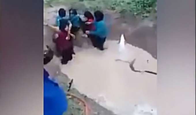 YouTube: obligan a escolares a cruzar pozo lleno de serpientes