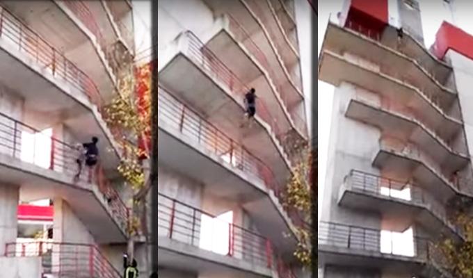 España: bombero escala nueve pisos en 30 segundos