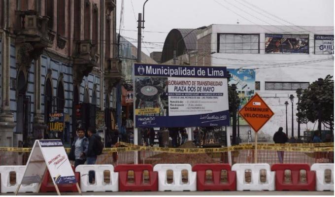 MML inició construcción de ciclovías en la Plaza Dos de Mayo