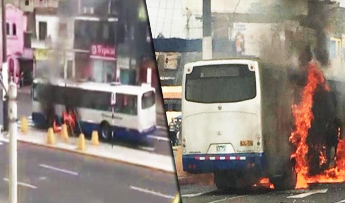 Rímac: bus del Corredor Azul se incendió en la avenida Alcázar