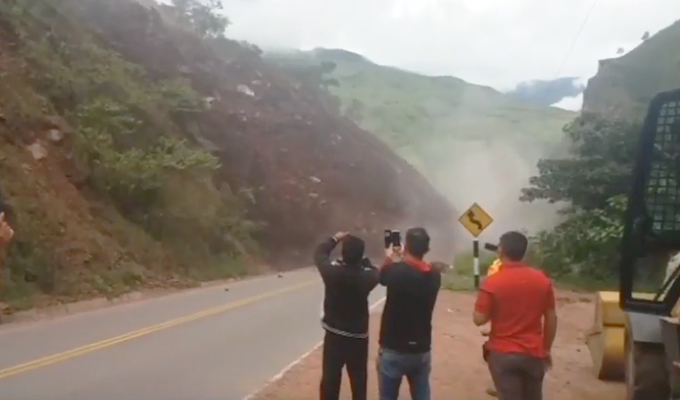 Amazonas: se registra derrumbe en carretera de Bagua Grande