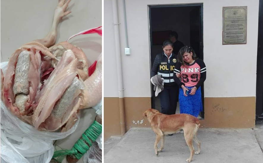 Detienen a mujer que intentó ingresar a penal con droga camuflada dentro de un pollo crudo