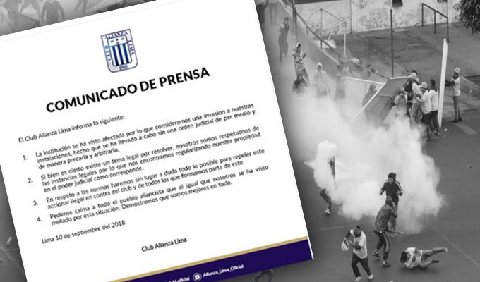 """Club Alianza Lima se pronuncia sobre """"invasión"""" a la explanada de Matute"""