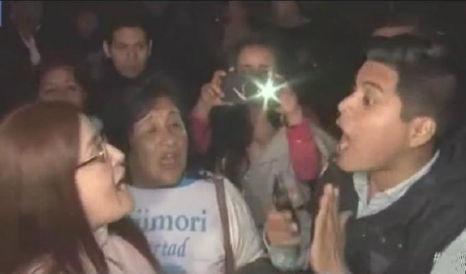 Simpatizante de Alberto Fujimori se enfrentaron a seguidores de Keiko