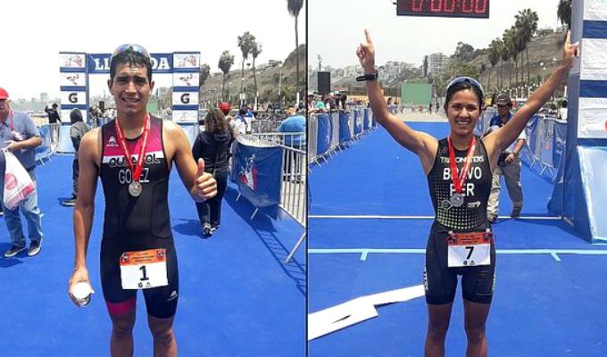 José Gómez y Ada Bravo se proclaman campeones en triatlón y obtienen cupo para Lima 2019
