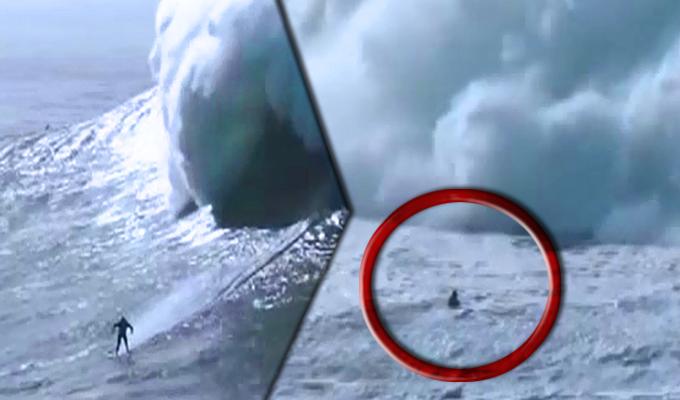 Portugal: cinco olas gigantes seguidas aplastan a un surfista en playa de Nazaré