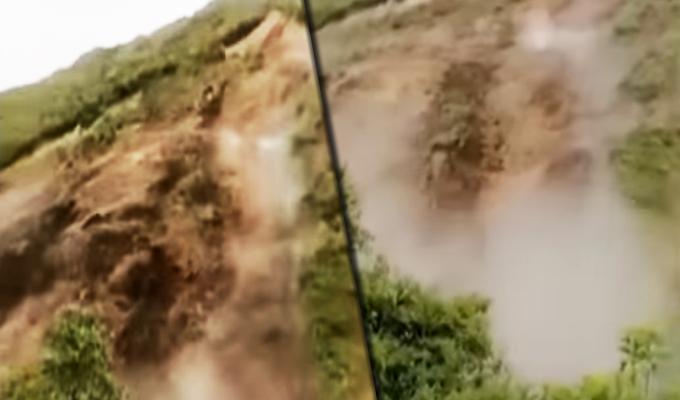 Cusco: turista capta derrumbe sobre río Salkantay