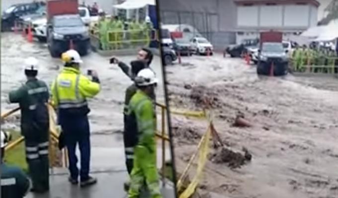 Campamento minero terminó inundado por torrencial lluvia en Chincha