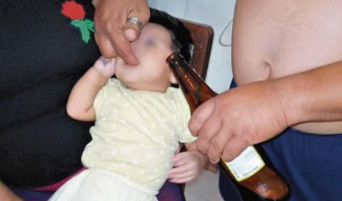 Lambayeque: profesor exige beber licor a bebe de 4 meses